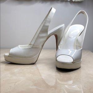 Aldo white heel shiny